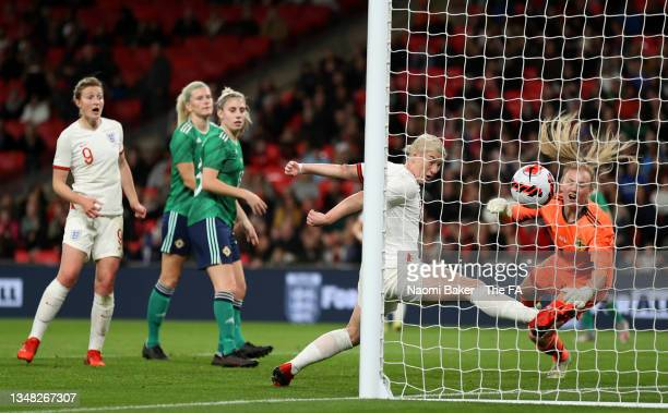 Bethany England of England scores their team's second goal during the FIFA Women's World Cup 2023 Qualifier group D match between England and...