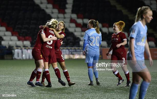 Bethany England of Liverpool Ladies celebrates after scoring the third goal during the FA WSL match between Liverpool Ladies and Sunderland Ladies at...