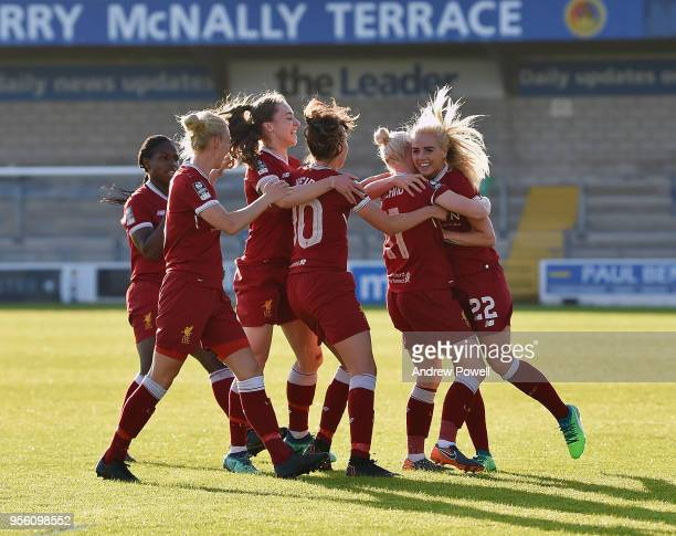 Bethany England of Liverpool Ladies celebrates after scoring the opening goal during the Women's Super League match between Liverpool Ladies and...