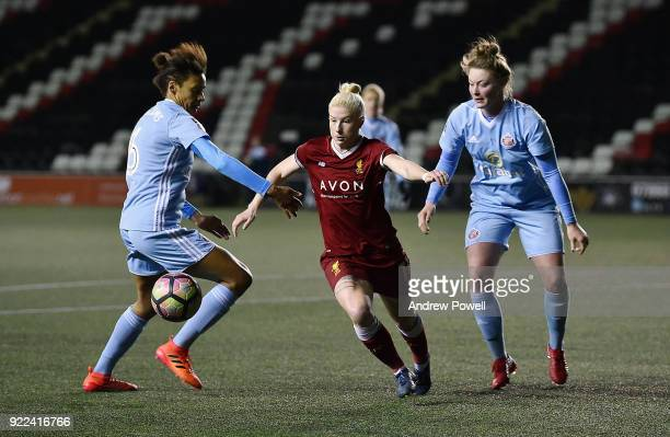 Bethany England of Liverpool Ladies competes with Victoria Williams of Sunderland Ladies during the FA WSL match between Liverpool Ladies and...