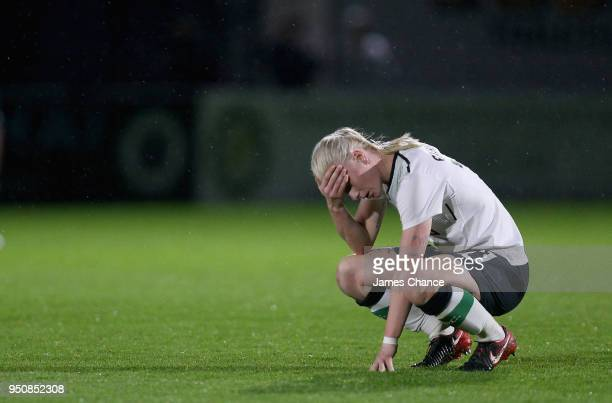Bethany England of Liverpool Ladies looks dejected after the FA Women's Super League One match between Arsenal Women and Liverpool Ladies at Meadow...
