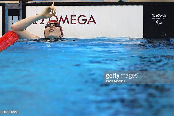 Bethany Firth of Great Britain celebrates winning the gold medal in the Women's 200m Individual Medley SM14 Final on day 10 of the Rio 2016...