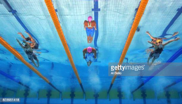 Bethany Galat of the United States Yuliya Efimova of Russia and Taylor Mckeown of Australia compete during the Women's 200m Breaststroke final on day...