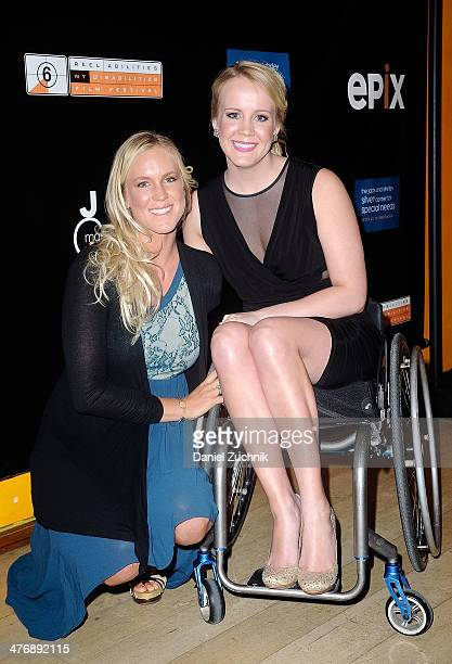 Bethany Hamilton and Mallory Weggemann attend 'The Current' New York series premiere at Times Center on March 5 2014 in New York City