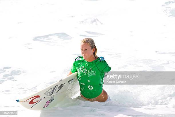 Bethany Hamilton of Hawaii leaves the water during the Gidget Pro on November 27 2009 in Sunset Beach Hawaii