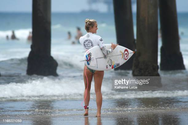 Bethany Hamilton of Hawaii waives to fans before competing in the 2019 VANS US Open of Surfing at Huntington State Beach on July 30 2019 in...