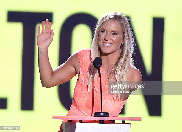 Bethany Hamilton speaks onstage during the Nickelodeon Kids' Choice Sports Awards 2014 held at Pauley Pavilion on July 17 2014 in Los Angeles...
