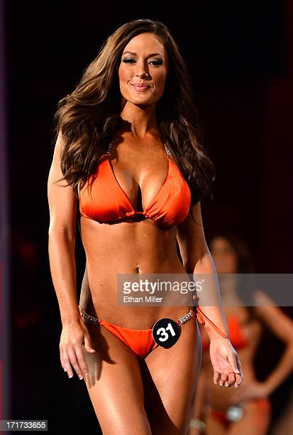 Bethany Jones of Lewisville Texas competes during the 17th annual Hooters International Swimsuit Pageant at The Joint inside the Hard Rock Hotel...