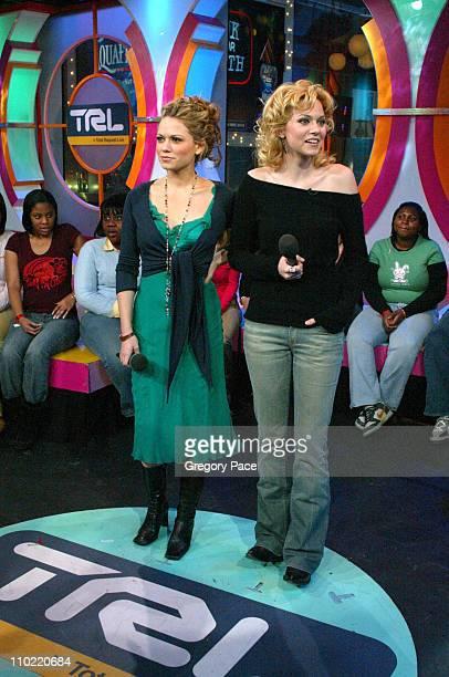 Bethany Joy Lenz and Hilarie Burton on the set of TRL