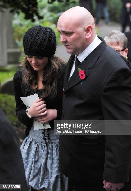 Bethany Lappin and John Lappin sister and father of murdered Joseph Lappin after the funeral service for Joseph at St Oswald's Church Old Swan...