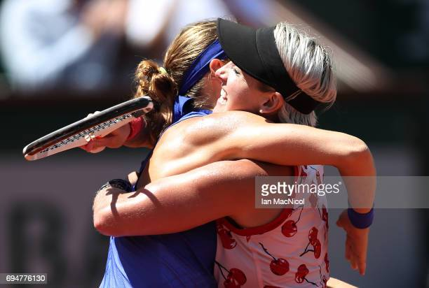 Bethany Mattek-Sands of United States and Lucie Safarova of Czech Republic celebrate victory over Ashleigh Barty and Casey Dellacqua of Australia in...