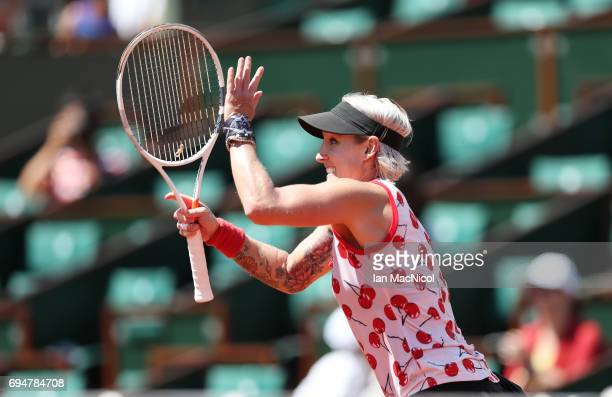 Bethany MattekSands of United States celebrates after she and her partner Lucie Safarova of Czech Republic beat Ashleigh Barty and Casey Dellacqua of...