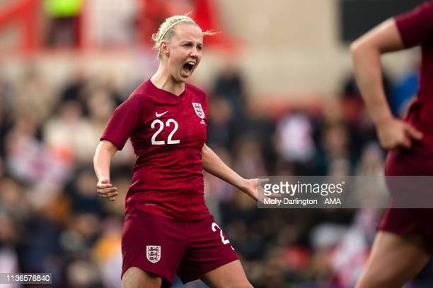 Bethany Mead celebrates after scoring a goal to make it 10 during the International Friendly between England Women and Spain Women at County Ground...
