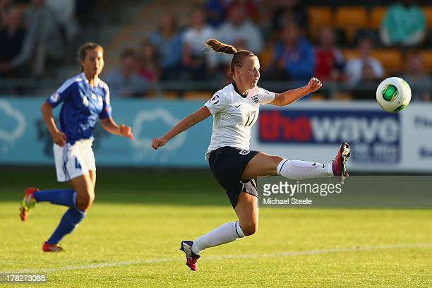 Bethany Mead of England U19 women scores the first goal during the UEFA Women's U19 SemiFinal match between England U19 women and Finland U19 women...