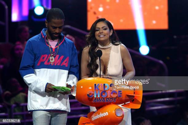 Bethany Mota and Big Sean onstage at the Nickelodeon's 2017 Kids' Choice Awards at USC Galen Center on March 11 2017 in Los Angeles California