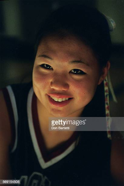 Bethany Thom a junior at Capistrano Valley Christian school is a top scorer in her small–school prep basketball division Portrait in the gym...