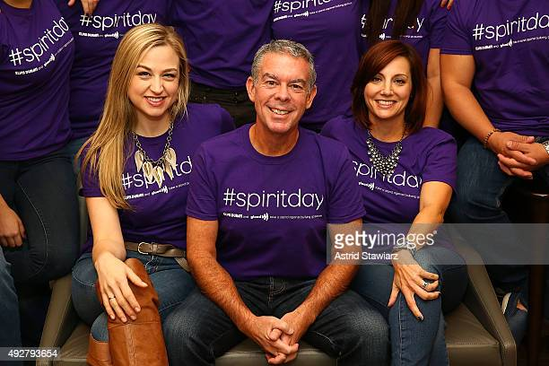Bethany Watson Elvis Duran and Danielle Monaro from the Elvis Duran and The Morning Show celebrate GLAAD's Spirit Day to take a stand against...