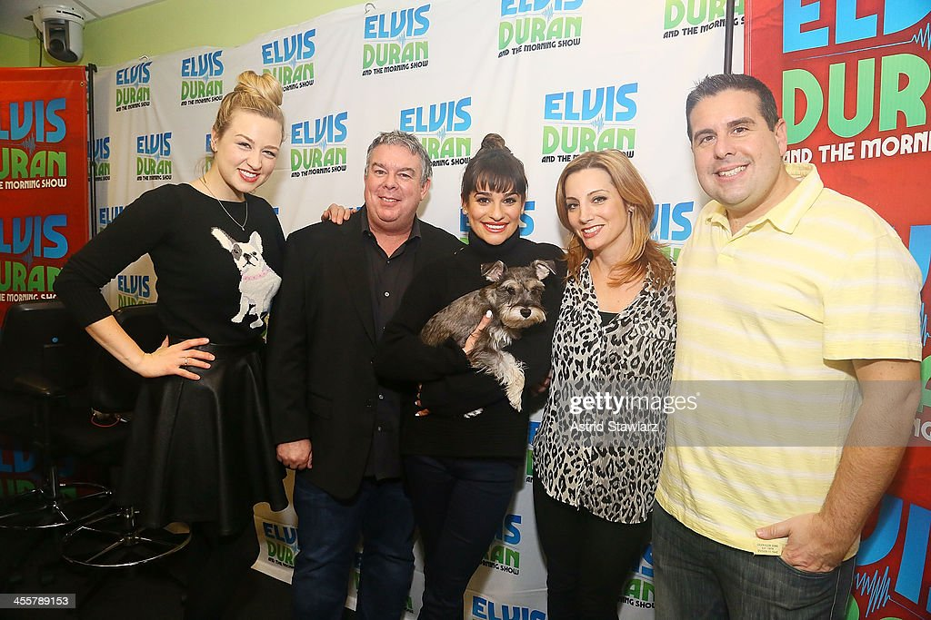 Bethany Watson, Elvis Duran, Lea Michele, Danielle Monaro and Skerry Jones visit the Elvis Duran z100 Morning Show at Z100 Studio on December 3, 2013 in New York City.
