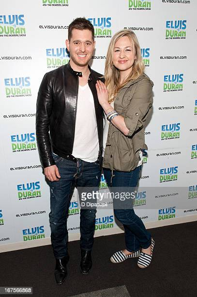 Bethany Watson poses with Michael Buble during his visit to the Elvis Duran Z100 Morning Show at Z100 Studio on April 26 2013 in New York City