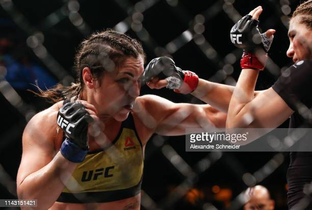 Bethe Correia and Irene Aldana trade punches in their Bantamweight bout during the UFC 237 event event at Jeunesse Arena on May 11 2019 in Rio de...