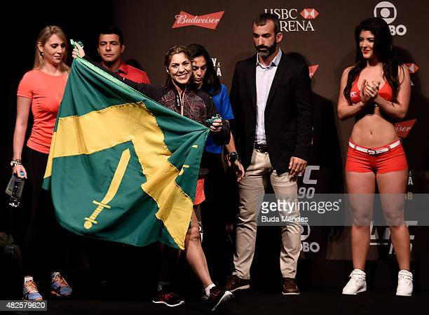 Bethe Correia of Brazil prepares to step onto the scale during the UFC 190 Rousey v Correia weigh-in at HSBC Arena on July 31, 2015 in Rio de...