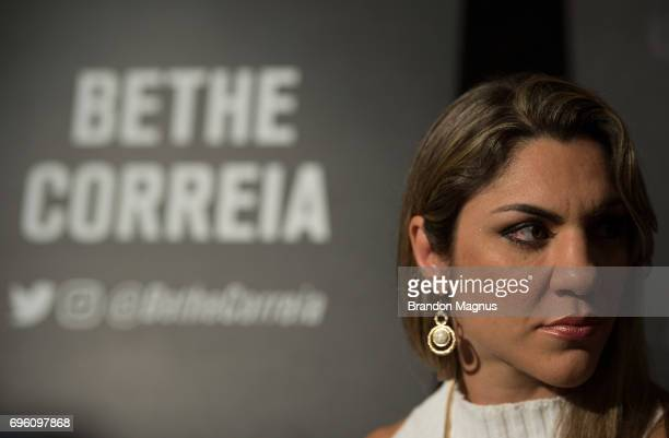Bethe Correia of Brazil speaks to the media during the UFC Fight Night Ultimate Media Day at the Marina Bay Sands on June 15 2017 in Singapore