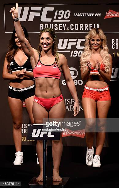 Bethe Correia of Brazil steps onto the scale during the UFC 190 Rousey v Correia weigh-in at HSBC Arena on July 31, 2015 in Rio de Janeiro, Brazil.