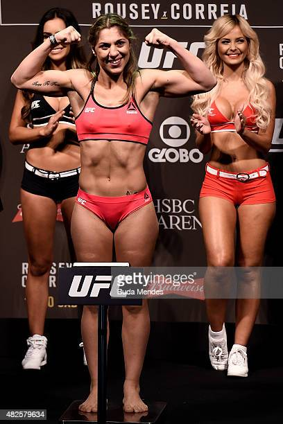 Bethe Correia of Brazil steps onto the scale during the UFC 190 Rousey v Correia weighin at HSBC Arena on July 31 2015 in Rio de Janeiro Brazil
