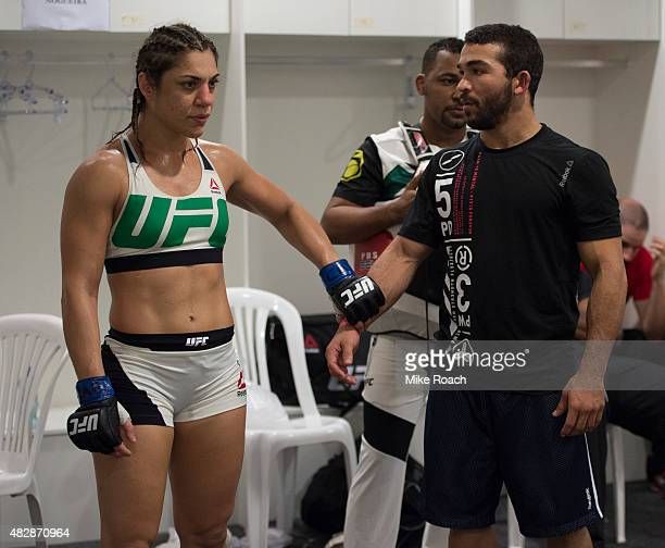 Bethe Correia of Brazil warms up backstage before her fight against Ronda Rousey during the UFC 190 event inside HSBC Arena on August 1 2015 in Rio...
