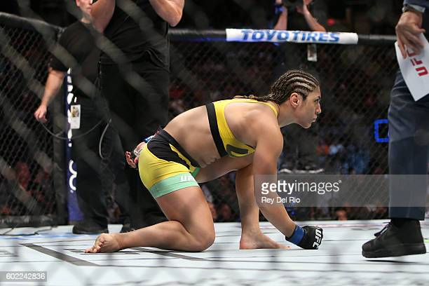 Bethe Correia prepares for the round to begin before facing Jessica Eye during the UFC 203 event at Quicken Loans Arena on September 10 2016 in...