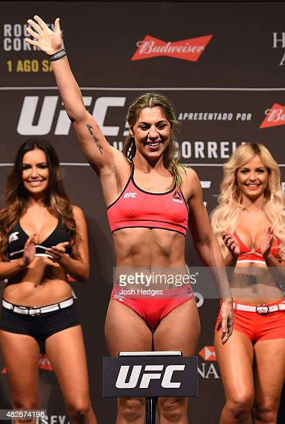Bethe Correia steps onto the scale during the UFC 190 weighin inside HSBC Arena on July 31 2015 in Rio de Janeiro Brazil
