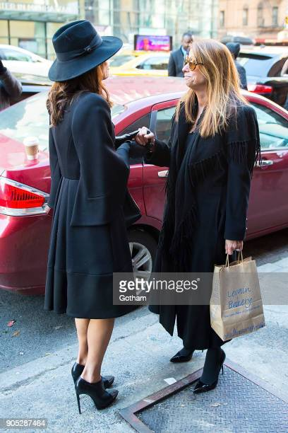 Bethenny Frankel and Jill Zarin are seen departing from the funeral for Bobby Zarin at Riverside Memorial Chapel on January 15 2018 in New York City