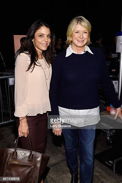 Bethenny Frankel and Martha Stewart pose backstage at the Grand Tasting presented by ShopRite featuring KitchenAid® culinary demonstrations presented...
