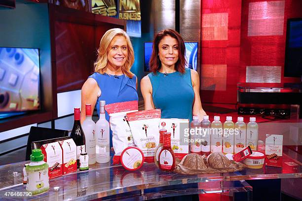 Bethenny Frankel poses with host Melissa Francis on the set of After The Bell on FOX Business Network at FOX Studios on June 9 2015 in New York City
