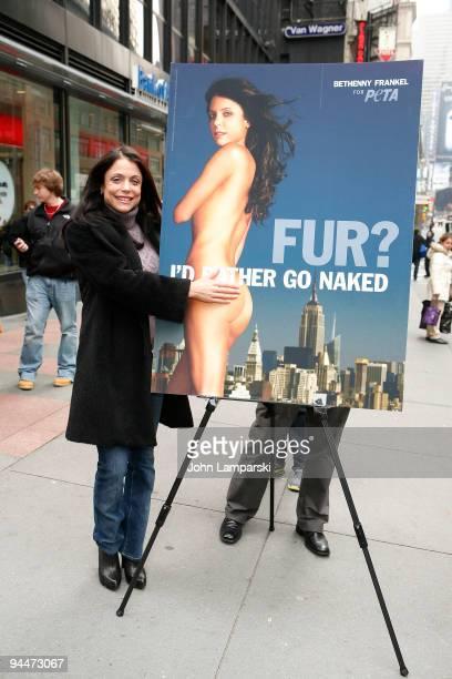 Bethenny Frankel unveils her PETA Fur I'd Rather Go Naked Billboard in Times Square on December 15 2009 in New York City