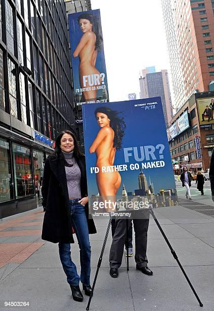 Bethenny Frankel unveils the new PETA Fur I'd Rather Go Naked Billboard in Times Square on December 15 2009 in New York City