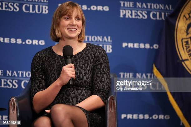 Bethesda Maryland native and champion swimmer Katie Ledecky announces that she will become a professional swimmer during the Newsmakers luncheon at...