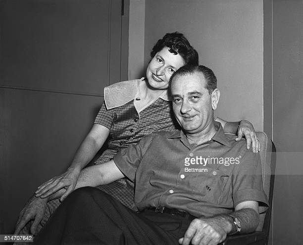 Bethesda, MD: Senate Majority Leader Lyndon Johnson of Texas and his wife Lady Bird pose for photographers at Bethesda Naval Hospital today. This is...