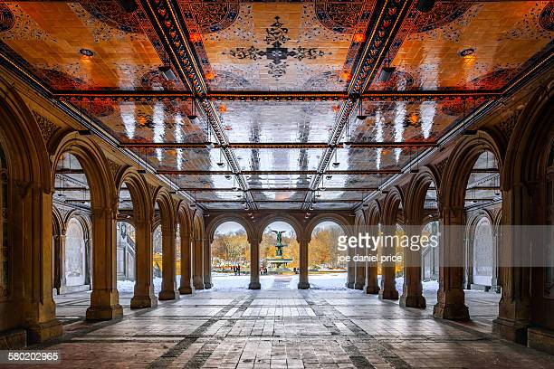 bethesda terrace, central park - bethesda maryland stock photos and pictures