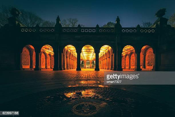bethesda terrazza a central park - arco architettura foto e immagini stock