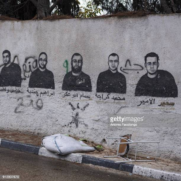 Bethlehem A memorial wall where Palestinian prisoners are depicted For the Palestinians the prisoners are not only supporters of the resistance but...
