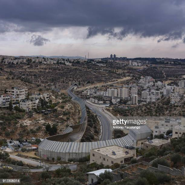 Bethlehem The dividing wall separating the Israeli highway from the Palestinian hills This photo shows without judgment the separation and the...
