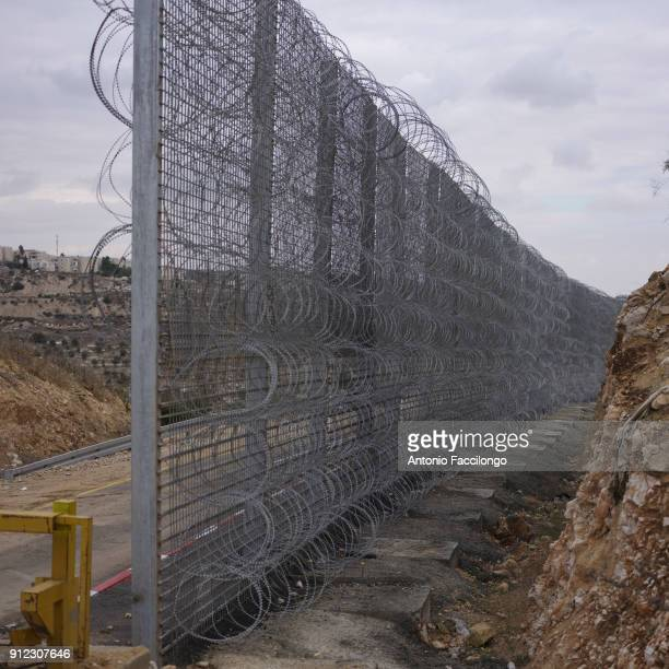 Bethlehem The fence the Israeli highway from the Palestinian hills