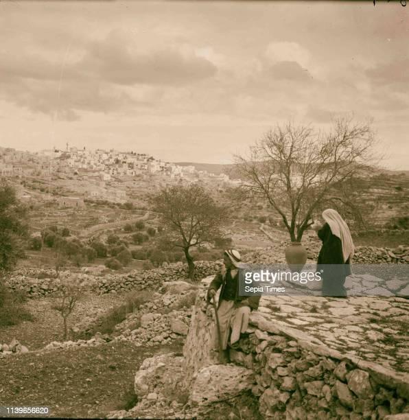 Bethlehem and surroundings. Bethlehem from S.W. A fitting scene to 'O Little Town of Bethlehem'. 1920, West Bank, Bethlehem