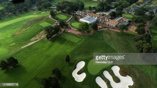 An aerial view of the clubhouse and part of the Bethpage Black golf course, in Bethpage State Park in New York on October 1, 2018. ,