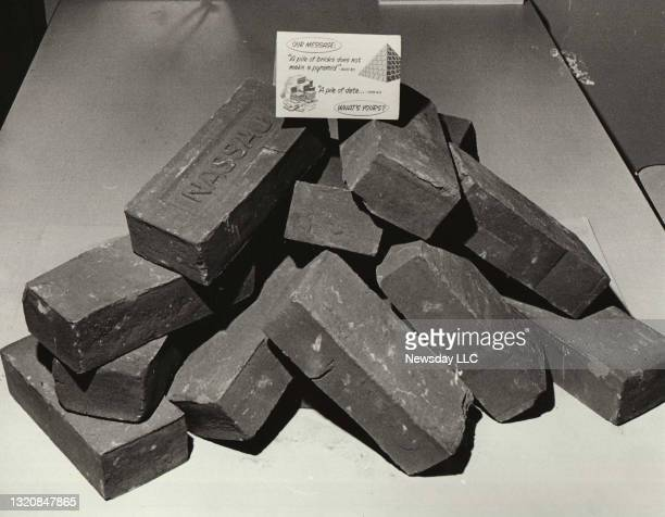 On March 24 a symbolic pile of bricks were placed throughout the Grumman plant in Bethpage, New York to remind employees of the huge effort that...