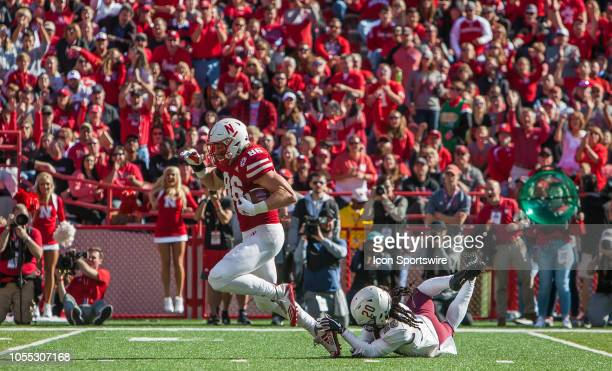 Bethune Cookman Wildcats cornerback Trevor Merritt saves a touchdown by grabbing the shoe of Nebraska Cornhuskers tight end Jack Stoll during the...