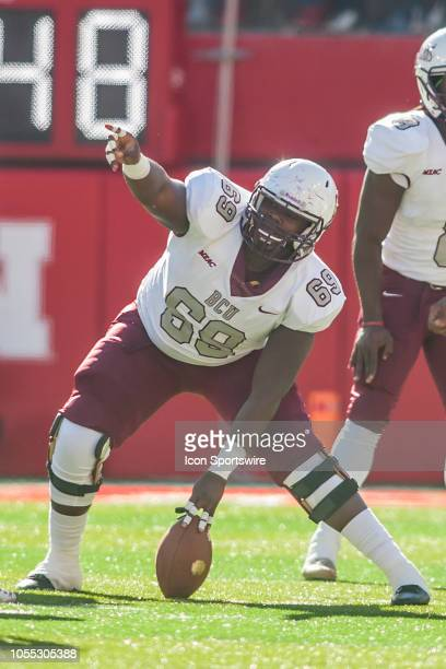 Bethune Cookman Wildcats offensive lineman L'Dre Barnes sets ups for the snap during the game between the BethuneCookman Wildcats and the Nebraska...
