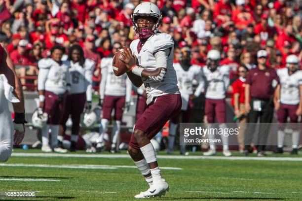 Bethune Cookman Wildcats quarterback David Israel steps back for a pass during the game between the BethuneCookman Wildcats and the Nebraska...