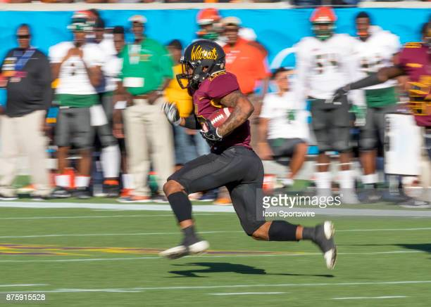 Bethune Cookman Wildcats running back Que'Shaun Byrd receivs a punt return during the football game between the Florida AM and BethuneCookman on...
